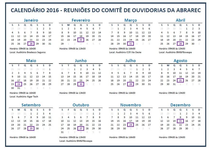 calendário ouvidorias abarec 2016